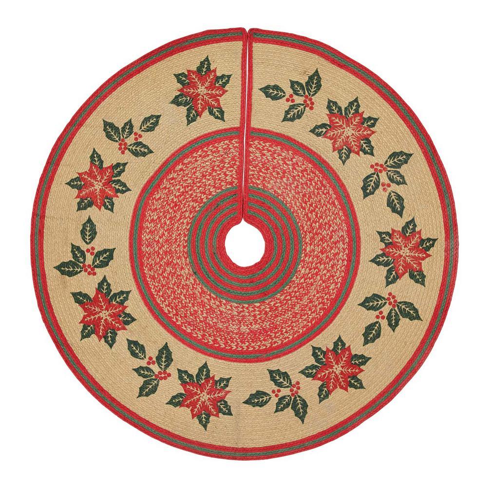 "CHERRY RED CUNNINGHAM JUTE BRAIDED CHRISTMAS TREE SKIRT 50/"" D NATURAL"