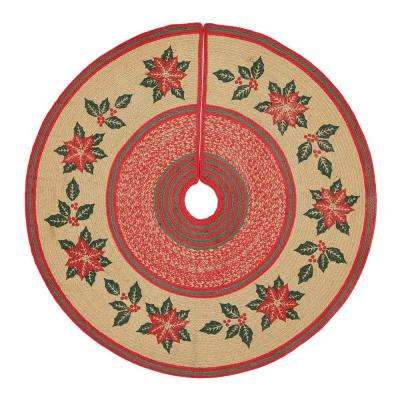 50 in. Poinsettia Natural Tan Holiday Christmas Decor Jute Tree Skirt