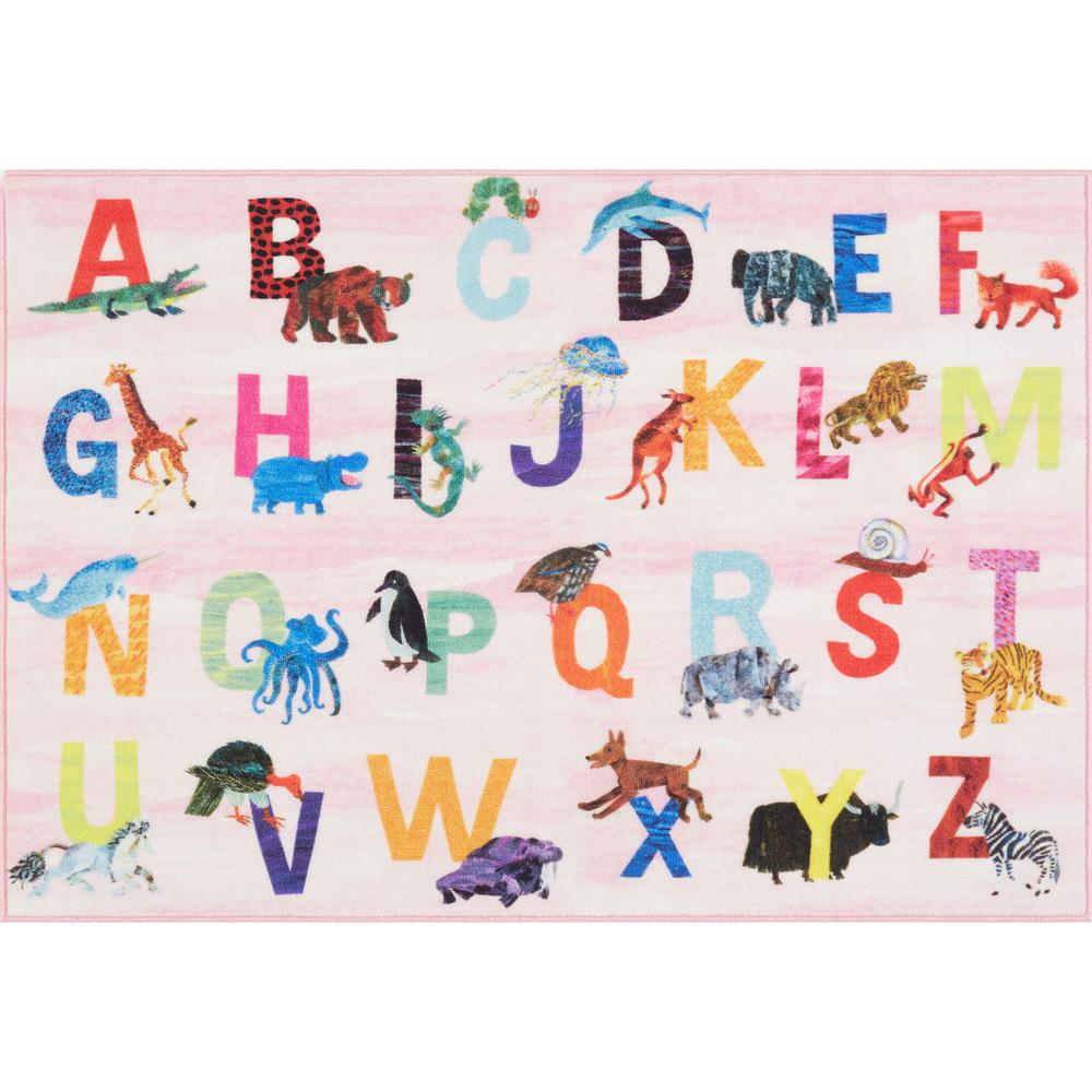 Home Dynamix Elementary Zoo Alphabet Pink 6 ft. 6 in. x 9 ft. 5 in. Indoor Area Rug