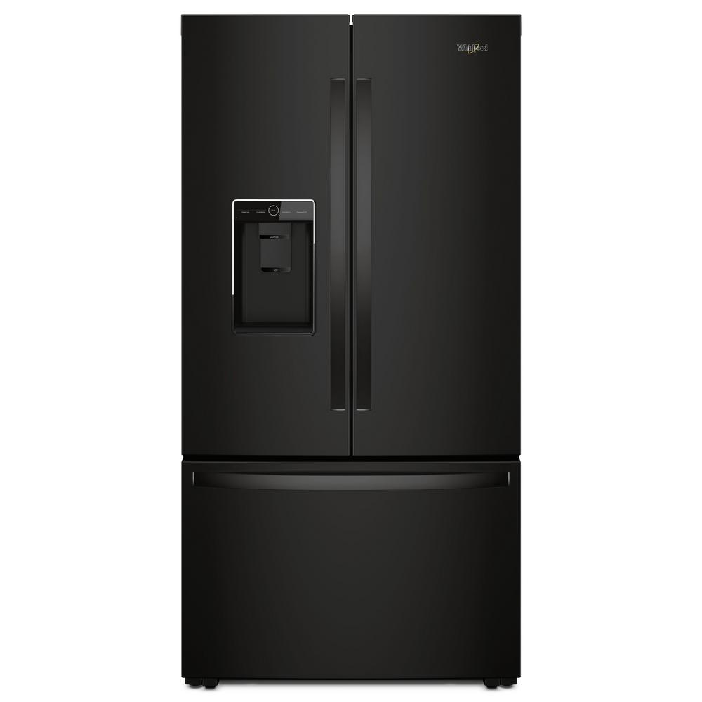 Whirlpool 24 cu ft french door refrigerator in black for How to increase cabinet depth