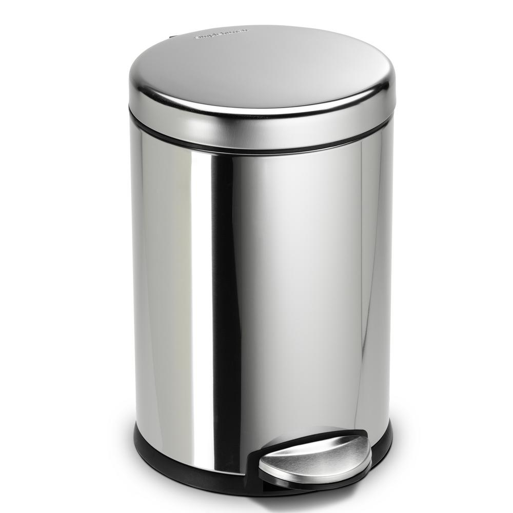 Simplehuman 4 5 liter fingerprint proof polished stainless for Simplehuman trash can