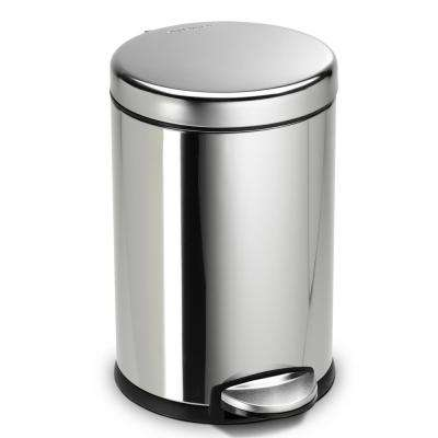 4.5-Liter Fingerprint-Proof Polished Stainless Steel Round Step-On Trash Can