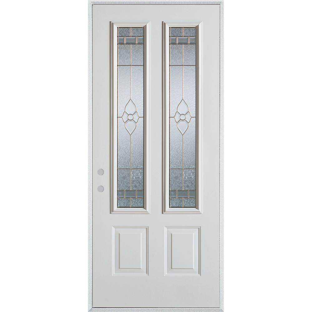 32 in. x 80 in. Traditional Brass 2 Lite 2-Panel Painted