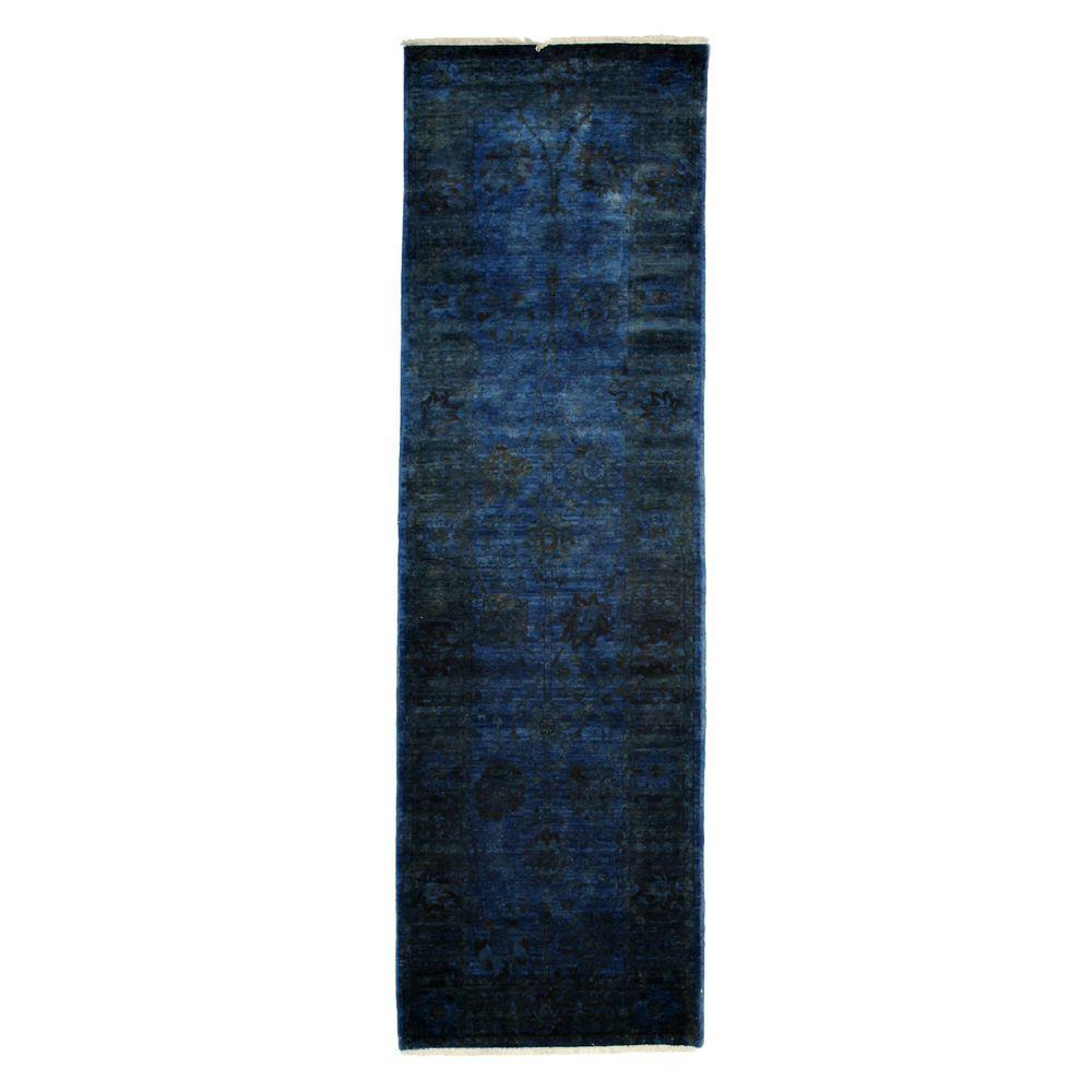 Darya Rugs Revival Blue 3 ft. x 10 ft. Indoor Rug Runner