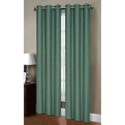 Semi-Opaque Henley Faux Linen 84 in. L Room Darkening Grommet Curtain Panel Pair, Grey Teal (Set of 2)