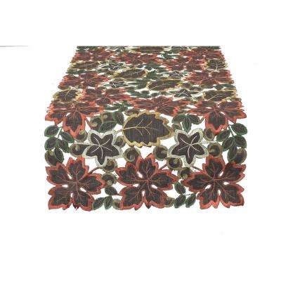 0.1 in. x 12 in. x 28 in. Dainty Leaf Embroidered Cutwork Mini Fall Table Runner