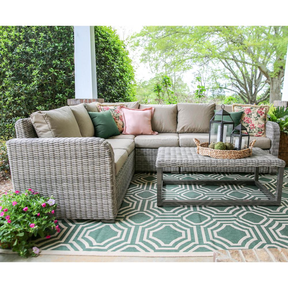 Forsyth 5-Piece Wicker Outdoor Sectional with Sunbrella Cast Ash Cushions