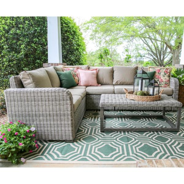 Leisure Made Forsyth 5-Piece Wicker Outdoor Sectional with Sunbrella Cast Ash Cushions