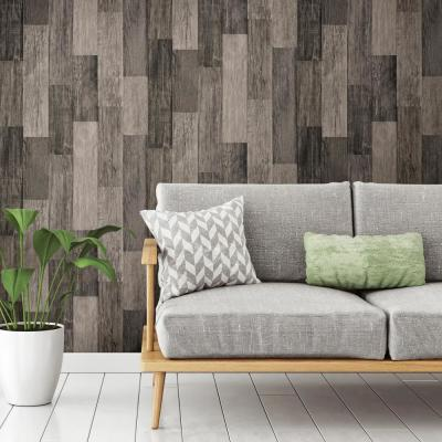 28.18 sq. ft. Weathered Wood Plank Black Peel and Stick Wallpaper