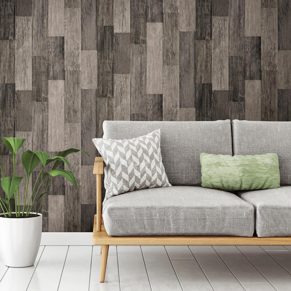 Weathered Wood Plank Black Vinyl Peelable Wallpaper (Covers 28.18 sq. ft.)