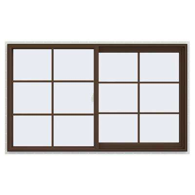 59.5 in. x 35.5 in. V-2500 Series Brown Painted Vinyl Right-Handed Sliding Window with Colonial Grids/Grilles