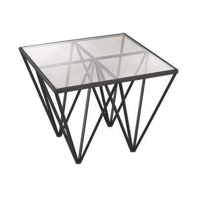 Geometric Dark Bronze and Glass Side Table