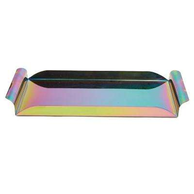 Assorted Color Metal Rectangular Serving Tray with Handles