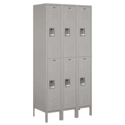 62000 Series 36 in. W x 78 in. H x 18 in. D 2-Tier Metal Locker Unassembled in Gray