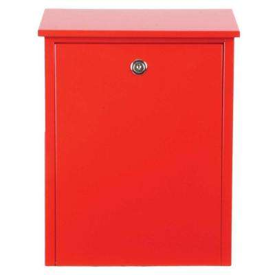 Red Wall-Mount Locking Mailbox