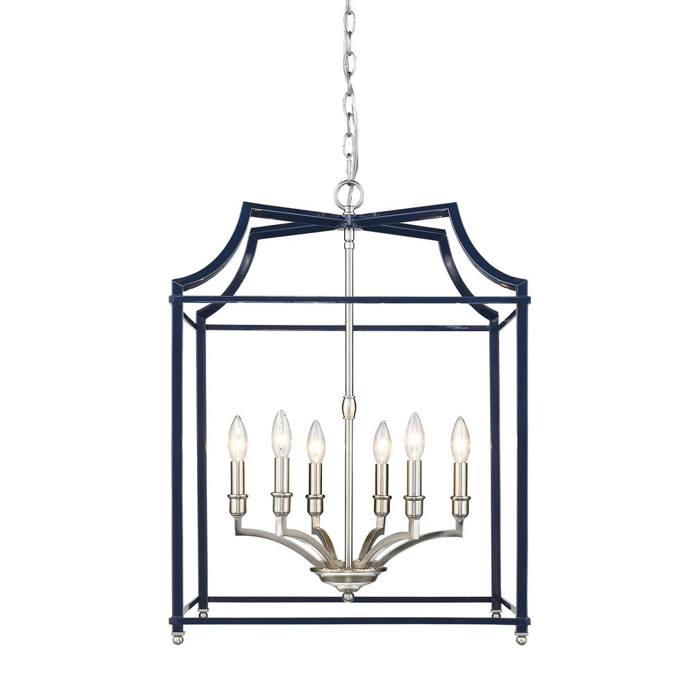 Leighton 6-Light Pewter and Navy Blue Pendant Light