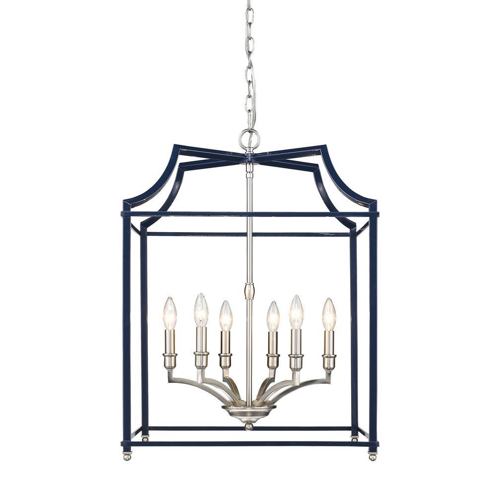Leighton 6-Light Pewter and Navy Blue Pendant Light