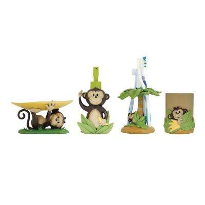 Monkey 4-Piece Kids Bathroom Accessories Set