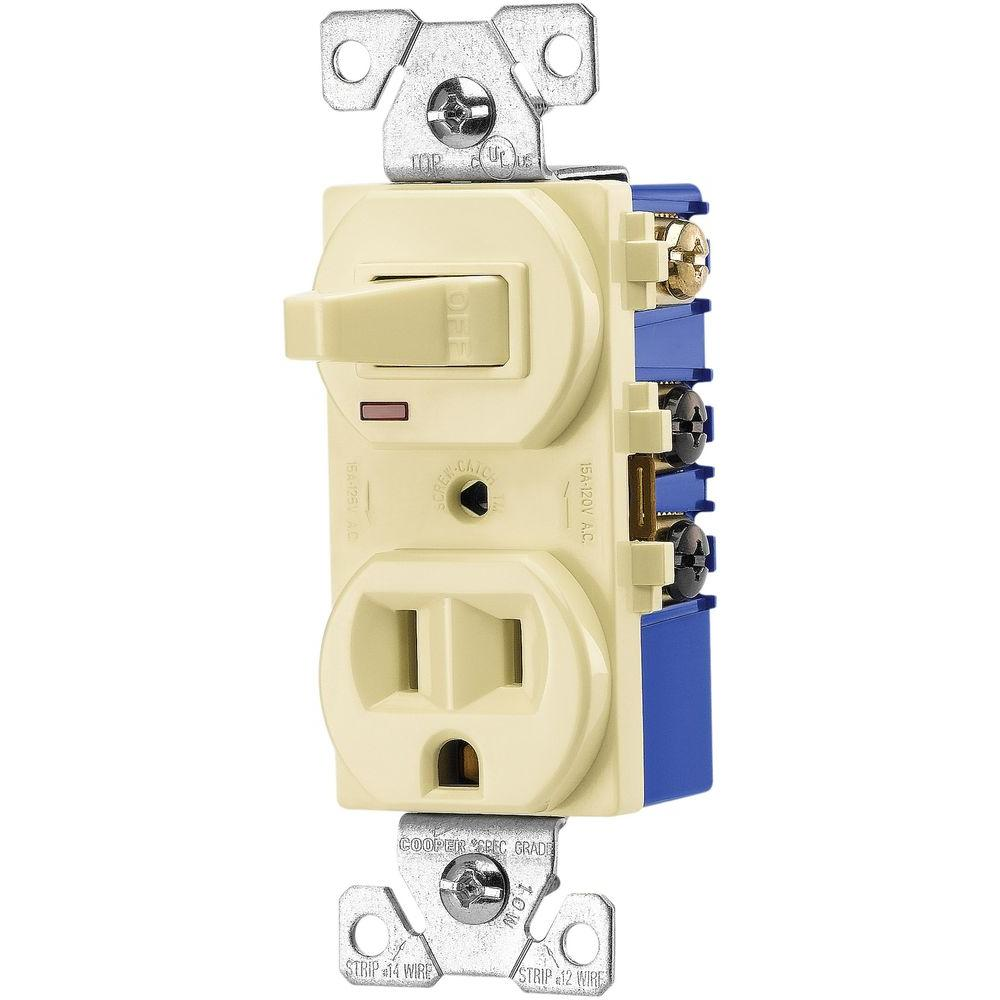 Eaton Single Pole 15 Amp 3-Way Toggle Combination Switch with Receptacle-Almond