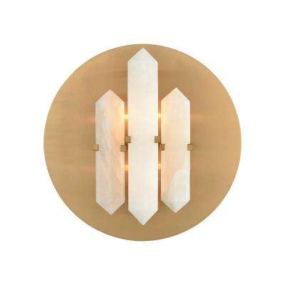 Annees Folles 2-Light Aged Brass and White Sconce