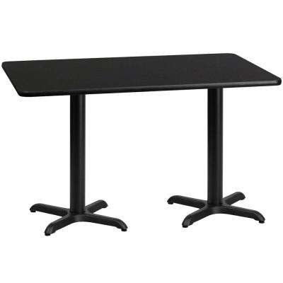 30 in. x 60 in. Rectangular Black Laminate Table Top with 22 in. x 22 in. Table Height Bases