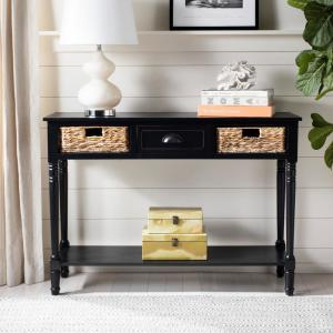 Christa Distressed Black Storage Console Table