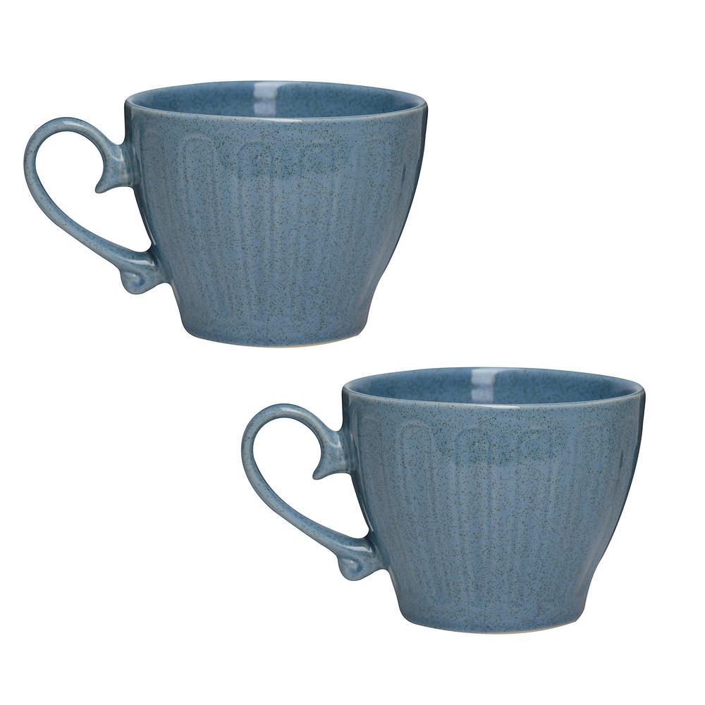 Primitive Topaz 18 oz. Blue Ceramic Coffee Mug (Set of 2)