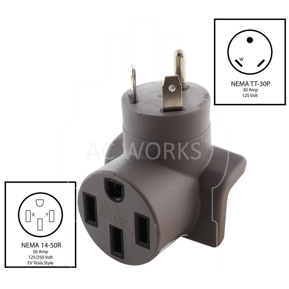 AC WORKS EVSE Charging Adapter RV TT-30P 30 Amp Plug to 50 Amp Electric on