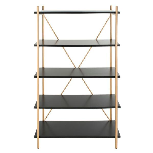 72 in. Black/Gold Metal 5-shelf Etagere Bookcase with Open Back