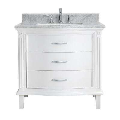 Rachel 36 in. Bath Vanity in Pure White with Carrara Marble Vanity Top in White with White Basin