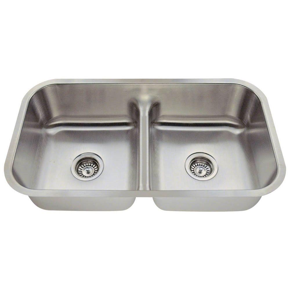 Polaris Undermount Stainless Steel (Silver) 33 in. Double...