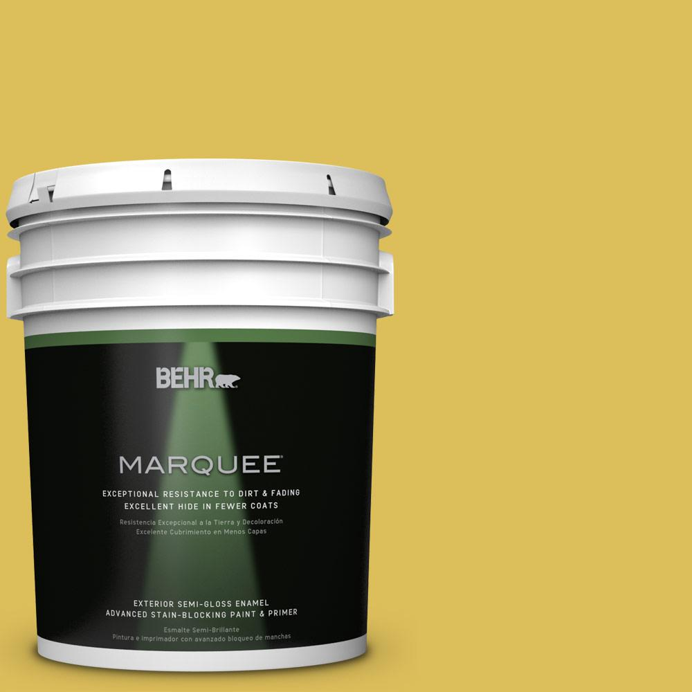 BEHR MARQUEE 5-gal. #P320-6 Sulfur Yellow Semi-Gloss Enamel Exterior Paint