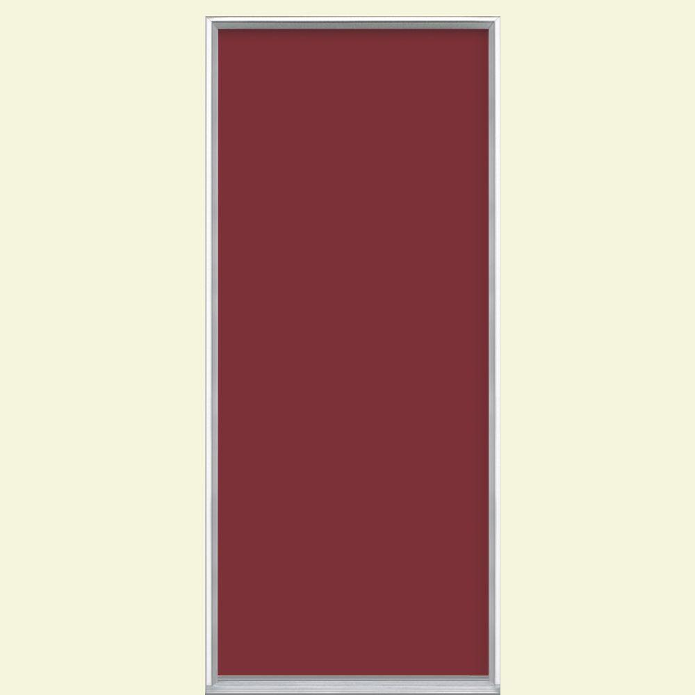 Masonite 36 in x 80 in flush right hand inswing red for Flush exterior door