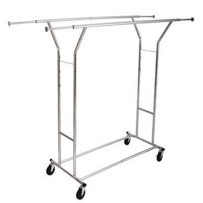 65 in. x 51 in. Steel Silver Garment Rack