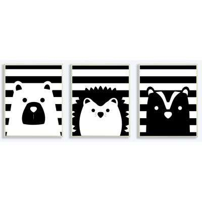"""10 in. x 15 in. """"Be Wild Stripes Black And White Animals"""" by Jessica Mundo Printed Wood Wall Art (3-Piece)"""