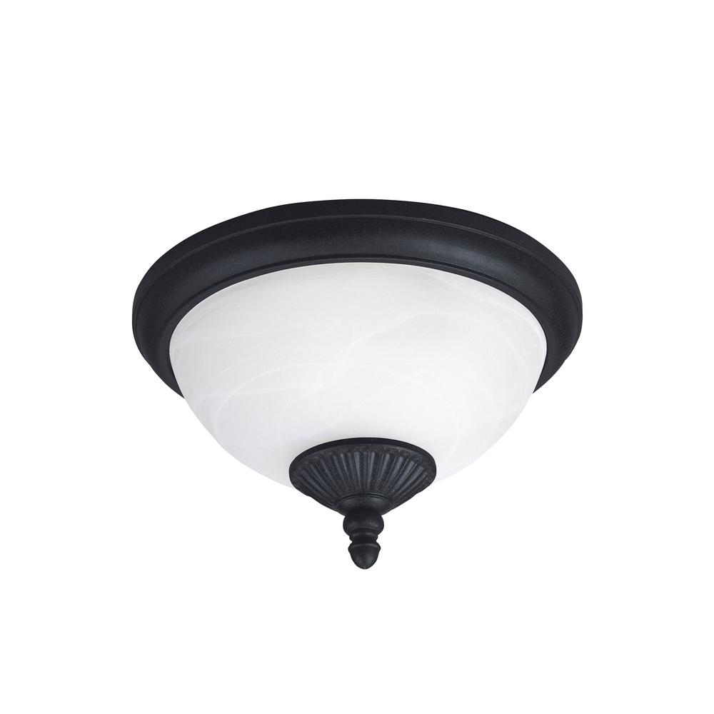 Yorktown Forged Iron 2-Light Outdoor Flush Mount with LED Bulbs