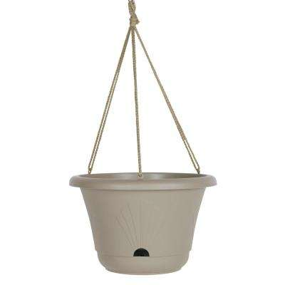 Lucca 13 in. x 8.75 in. Pebble Stone Plastic Self Watering Hanging Basket Planter