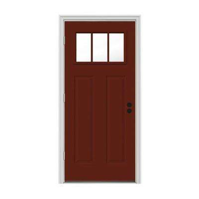 32 in. x 80 in. 3 Lite Craftsman Mesa Red w/ White Interior Steel Prehung Right-Hand Outswing Front Door w/Brickmould