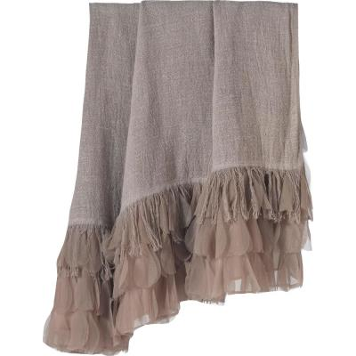 Chichi Flax Linen with Cascading Tulle Petal Throw