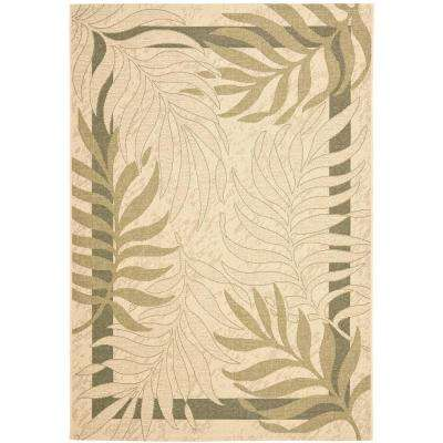 Courtyard Cream/Green 7 ft. x 10 ft. Indoor/Outdoor Area Rug