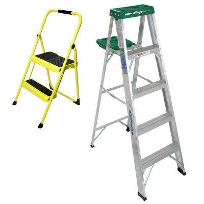 5 ft. Aluminum Step Ladder/Werner 2-Step Steel Step Stool (Combo Pack)