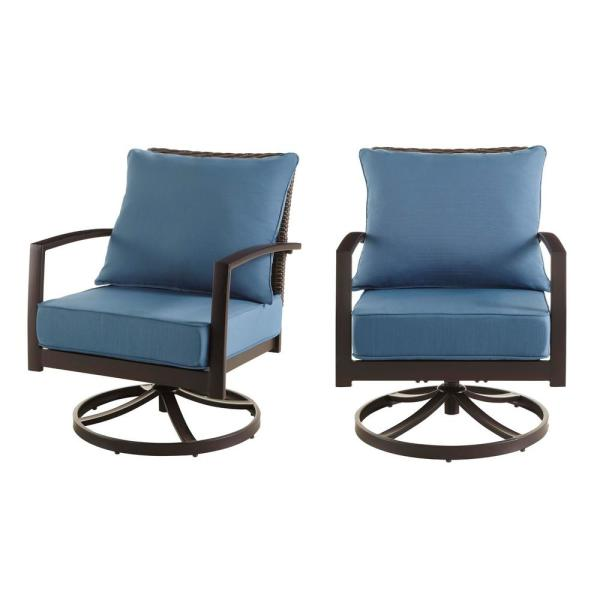 Whitfield Dark Brown Wicker Outdoor Patio Motion Conversation Chair with Standard Steel Blue Cushions (2-Pack)