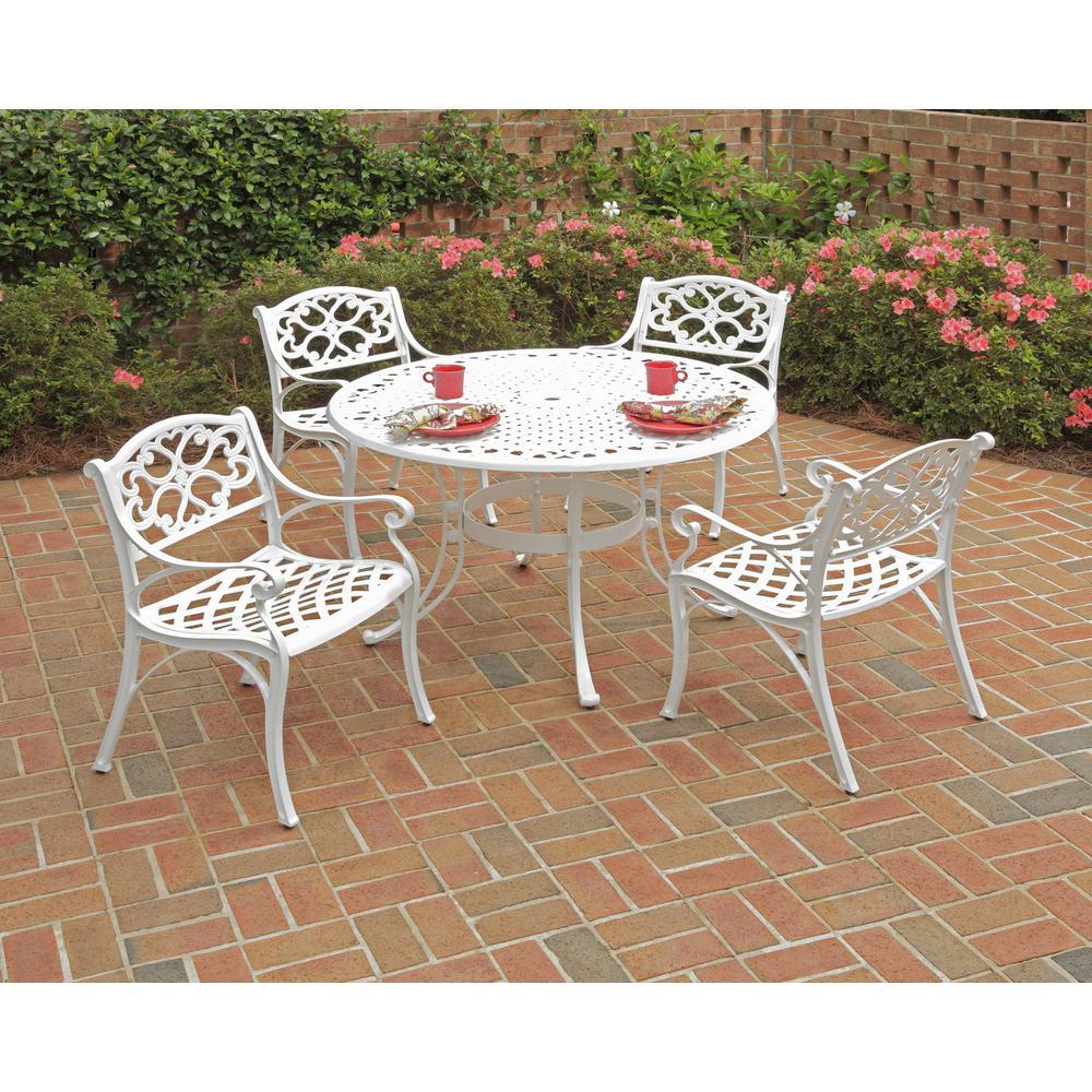 Sanibel 42 in. White 5-Piece Cast Aluminum Round Outdoor Dining Set