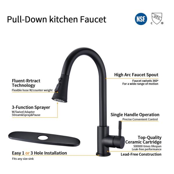 Boyel Living Black Single Handle Pull Down Sprayer Kitchen Faucet With Deck Plate In Stainless Steel Ms Id D3411 Mb The Home Depot