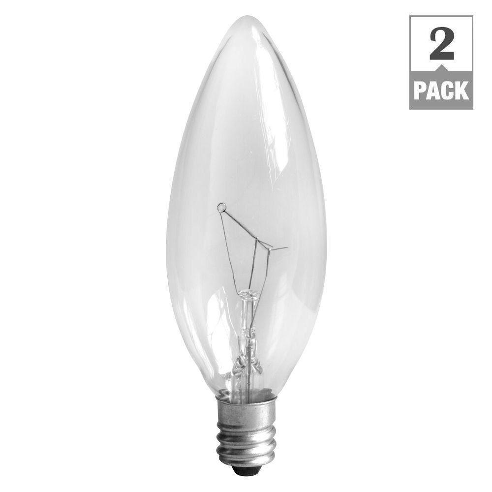 Ge 15 Watt Incandescent B8 Blunt Tip Decorative Candelabra Base Clear Light Bulb 2 Pack 15bc