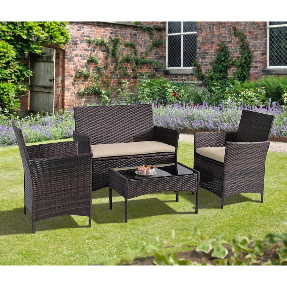 Marvelous Suntime Outdoor Living 4 Piece Plastic Outdoor Bistro Set With Sofa And Chairs With Brown Cushions Machost Co Dining Chair Design Ideas Machostcouk