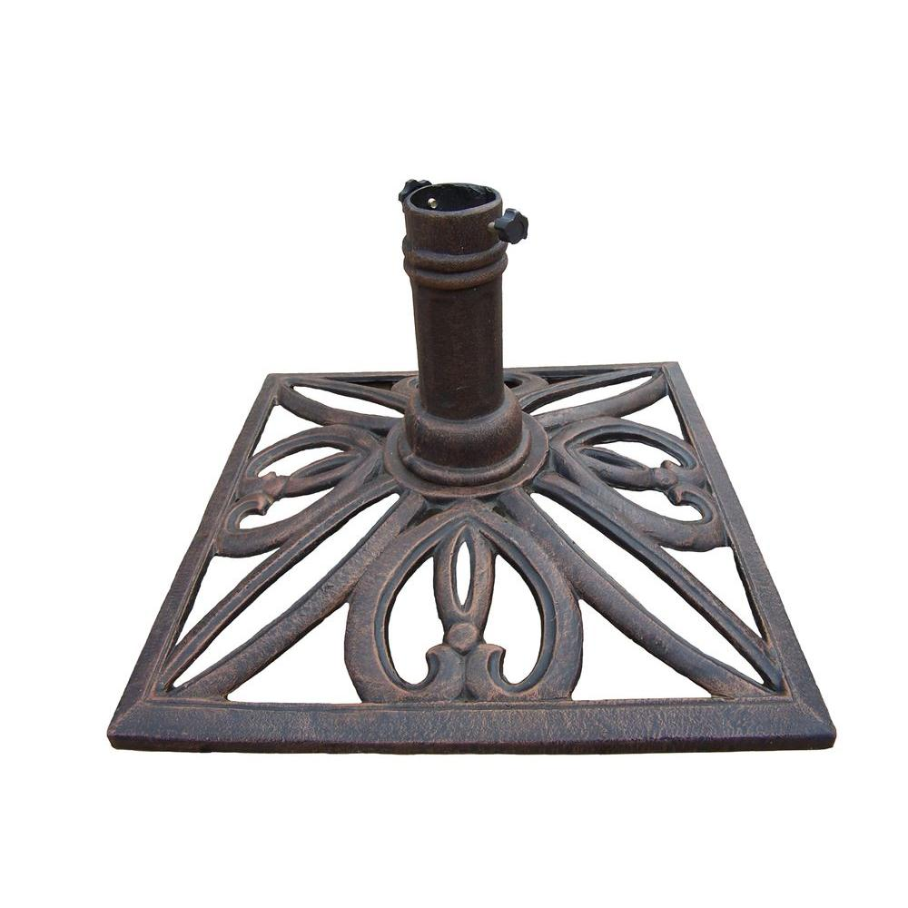 Amazing Square Patio Umbrella Stand In Antique Bronze