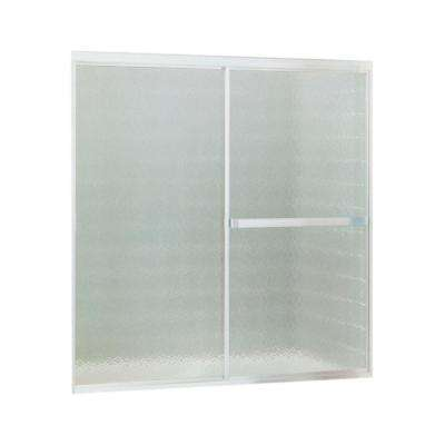 Standard 56 in. x 56-7/16 in. Framed Sliding Tub and Shower Door in Soft Silver with Handle