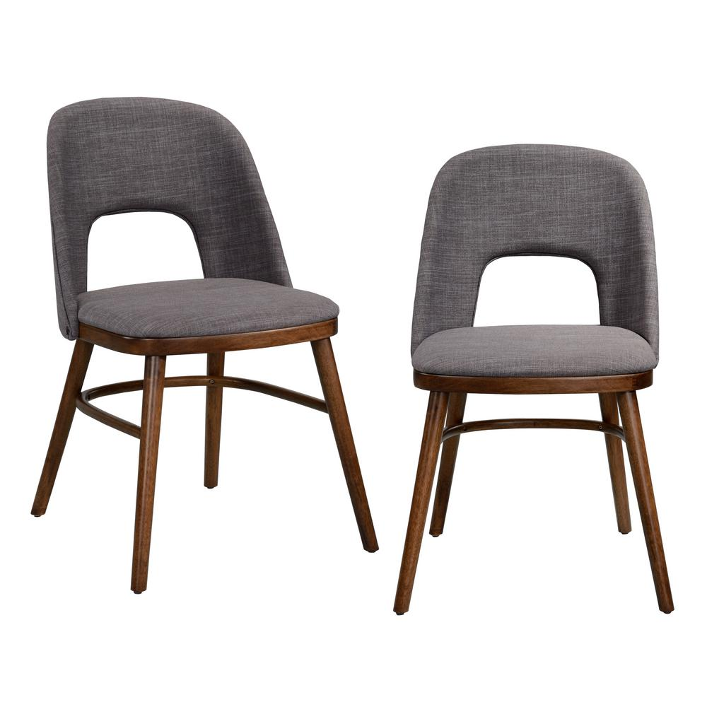 Handy Living Georgetown Walnut Armless Dining Chair With Cut Out Upholstered Back And Seat In