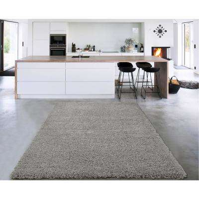 Cozy Shag Collection Grey 8 ft. x 10 ft. Indoor Area Rug